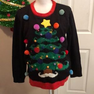 Sweaters - Ladies blinking light ugly sweater mustache trees